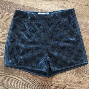 BEADED DETAIL LEATHER TRIM SHORTS
